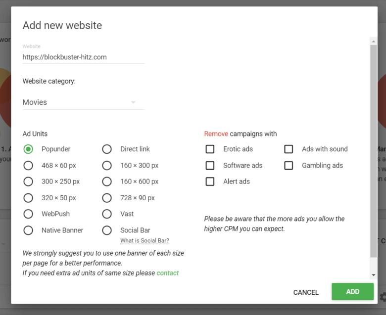 Get Adsterra ad code for a website