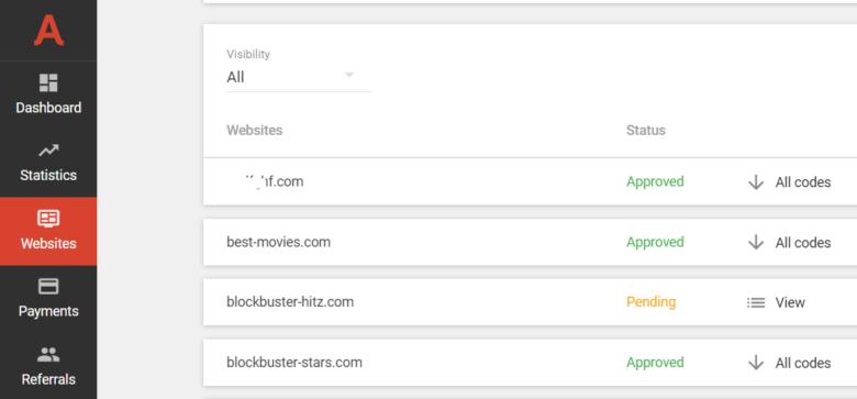 Websites approval statuses