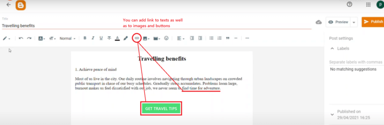 Add direct link to Blogger posts