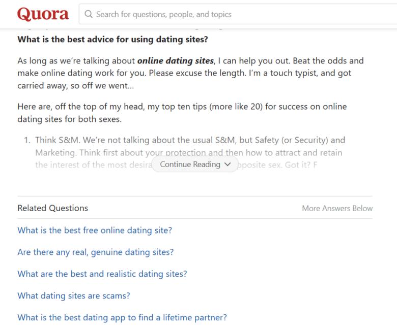 Expert advice on Quora