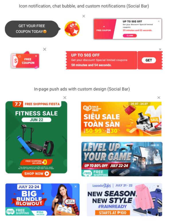 Top seasonal sales creatives - Social Bar by Adsterra