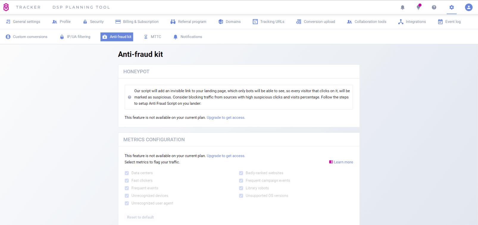 Voluum anti-fraud kit
