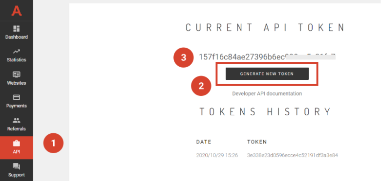 Generate Adsterra API token