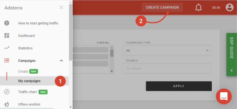 Create campaign at Adsterra