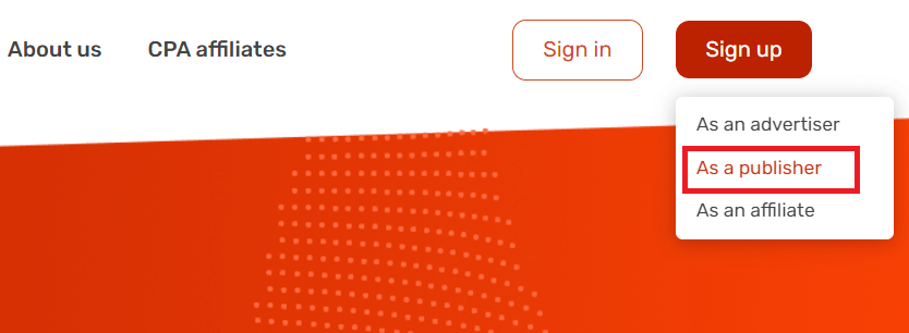 How to sign up as a publisher