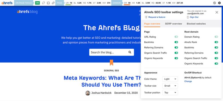 Ahrefs SEO toolbar settings