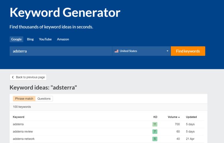 Ahrefs keyword generator Adsterra keyword ideas