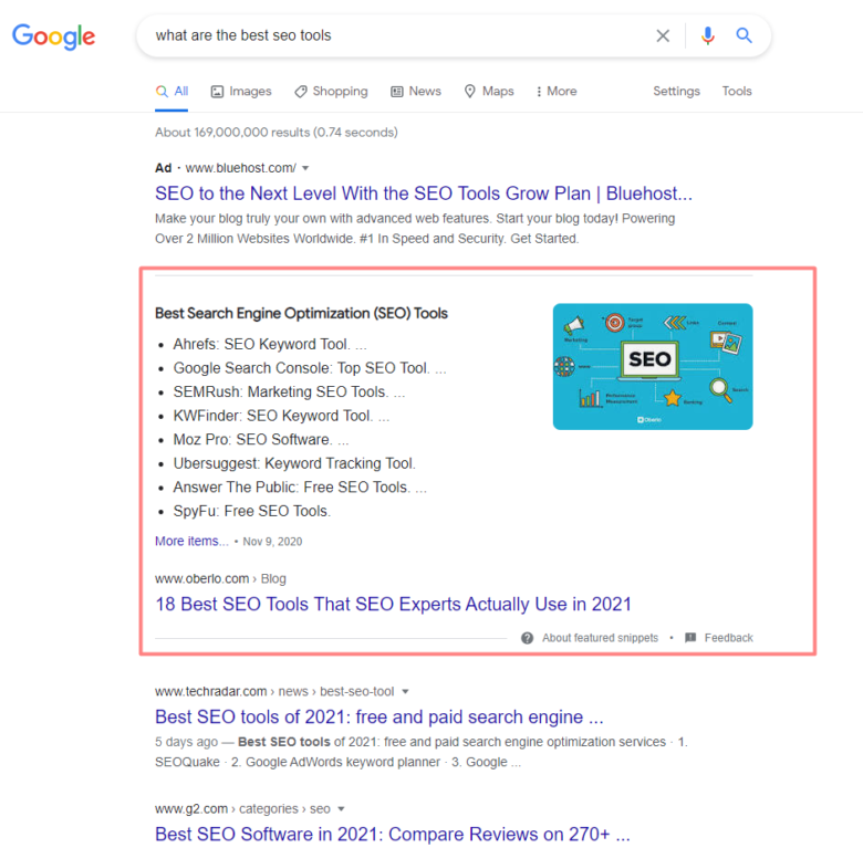 Featured snippet for what are the best seo tools query