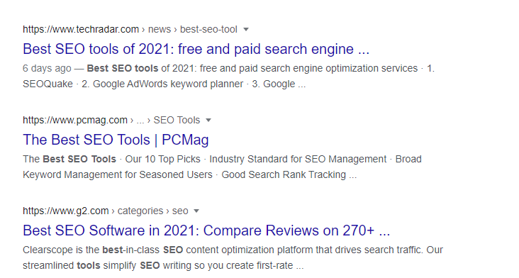 Google organic search results best seo tools
