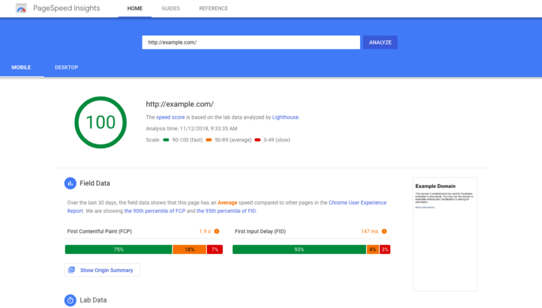 Google pagespeed insights example