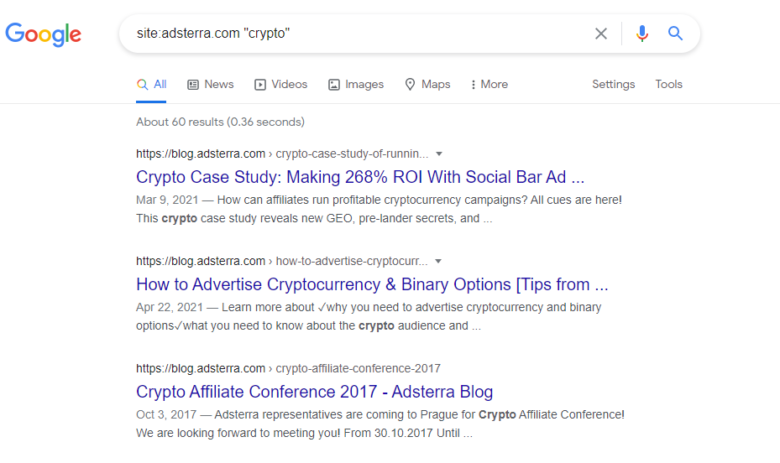 Google search results for crypto on adsterra website