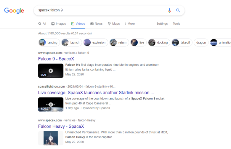 Google search results for spacex falcon 9