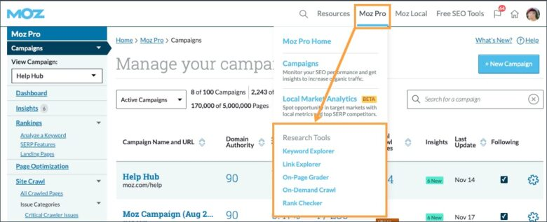 Moz pro research tools overview
