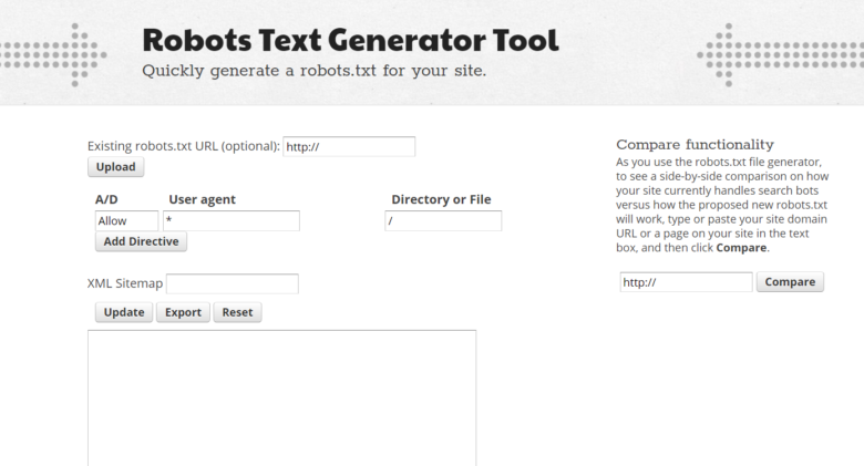 Robots text generator tool main menu