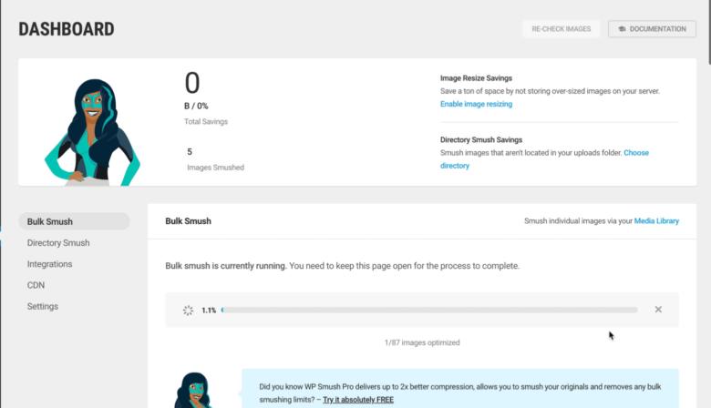 Smush WordPress plugin dashboard