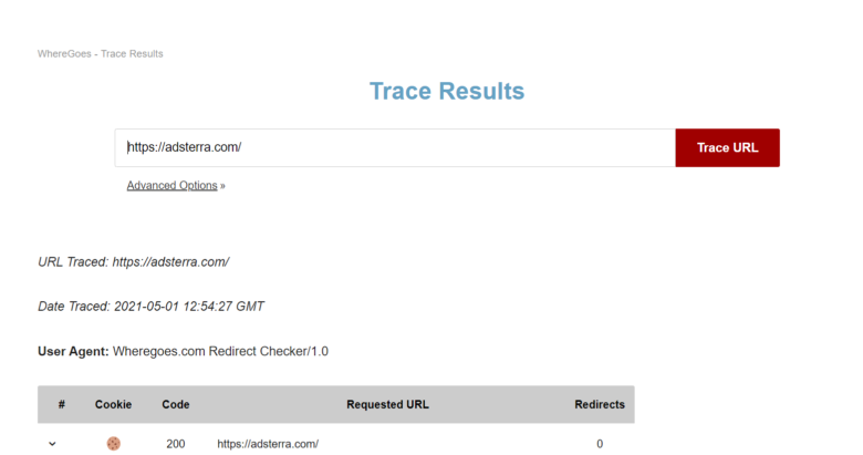 Where Goes trace results for Adsterra