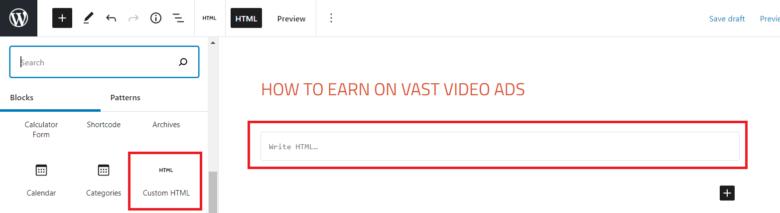 Adding VAST code to WordPress page