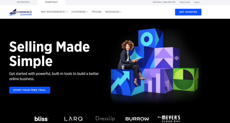 BigCommerce website builder main page overview