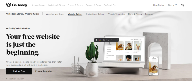 GoDaddy website builder main page overview