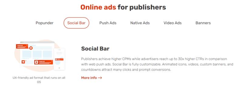 Adsterra Online ads for publishers - Social Bar