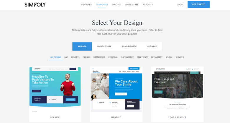 Simvoly website builder main page overview