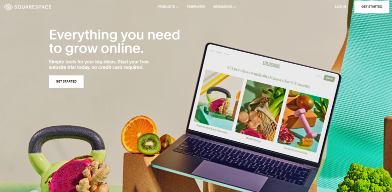 Squarespace website builder main page overview
