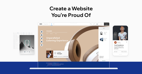 Wix website builder main page overview