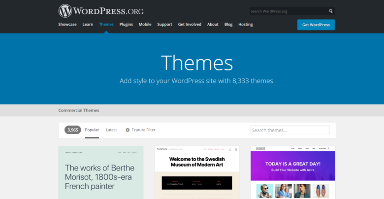 WordPress themes page overview