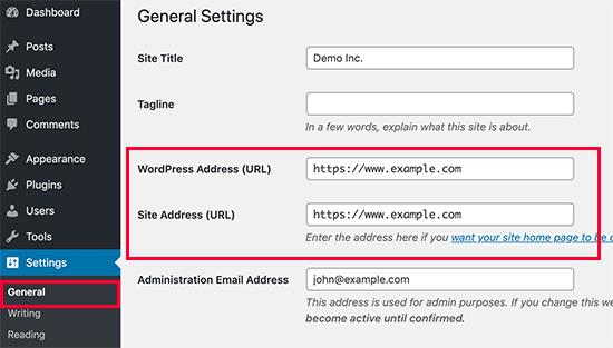 WordPress admin panel general settings - site address