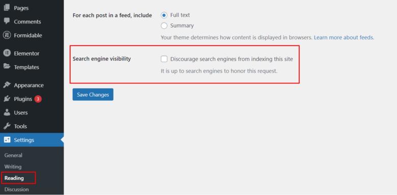 WordPress admin panel reading settings - search engine visibility