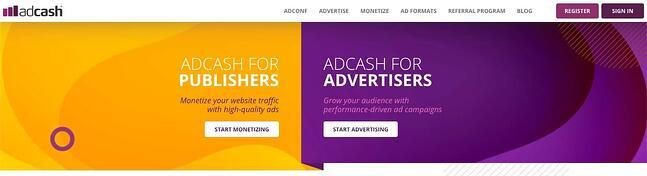 Visão geral da página inicial do Adcash