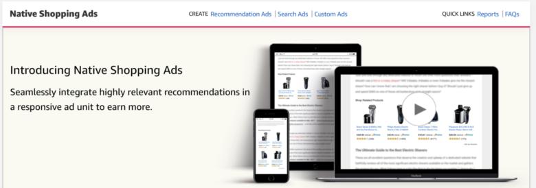 Página inicial de anúncios de compras nativos da Amazon
