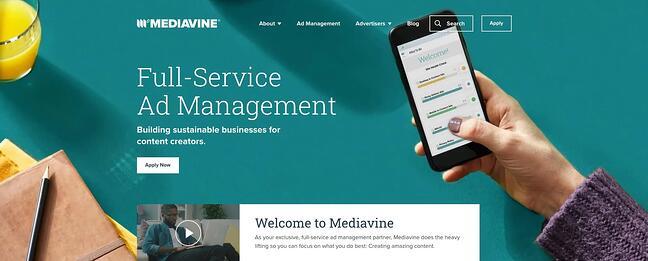 Visão geral da página inicial do Mediavine