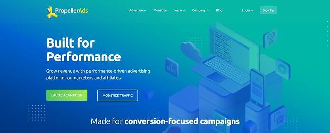 Página principal de anúncios de hélice