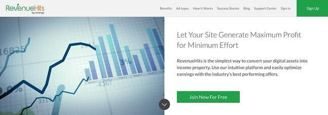 Visão geral da página inicial de RevenueHits