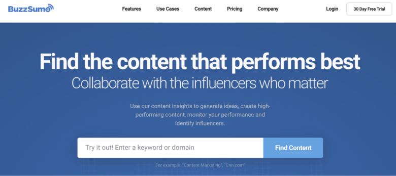 BuzzSumo home page overview