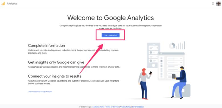Visão geral da página inicial do Google Analytics