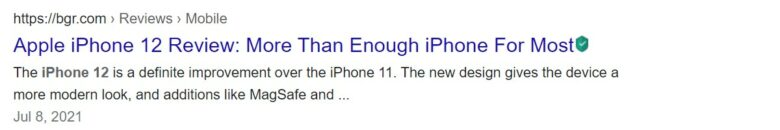 Google search result for Apple iPhone 12 example