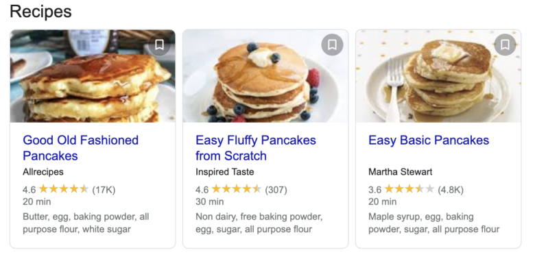 Google search results for pancake recipes