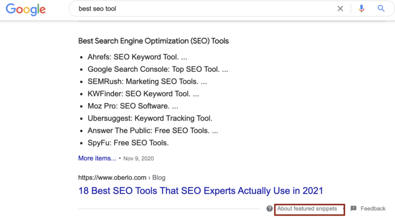 Google search results for the Best SEO tools featured snippets overview