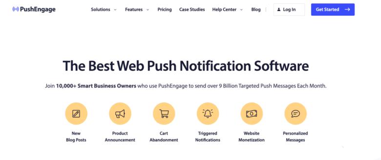 PushEngage home page
