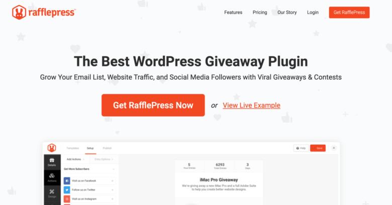 RafflePress home page