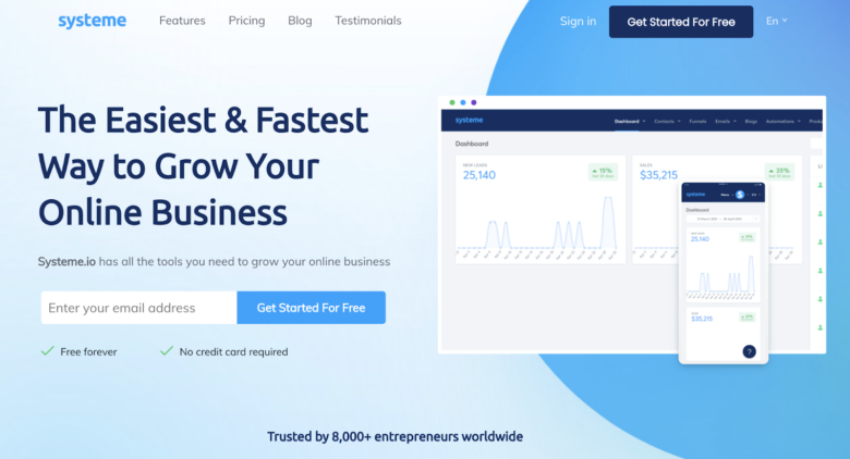 Systeme io home page
