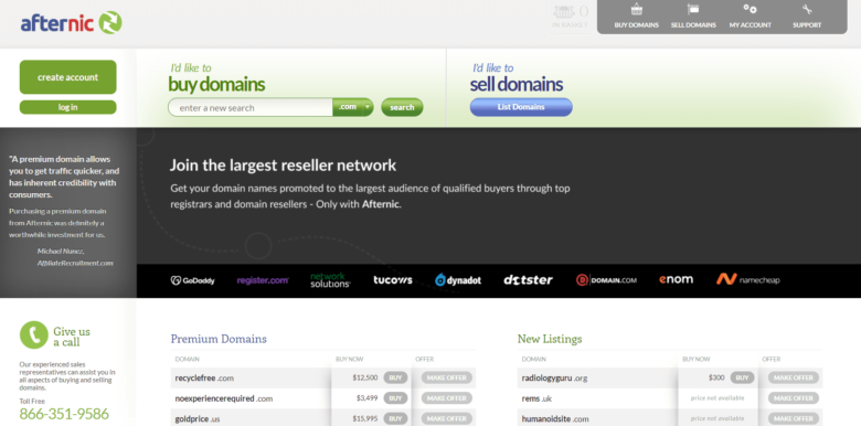 Afternic home page