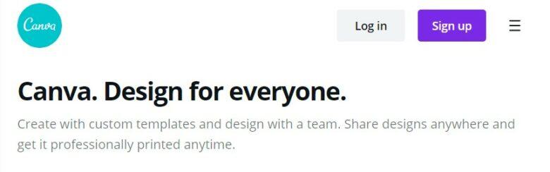Canva home page slogan