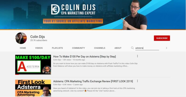 Colin Dijs YouTube Adsterra search results
