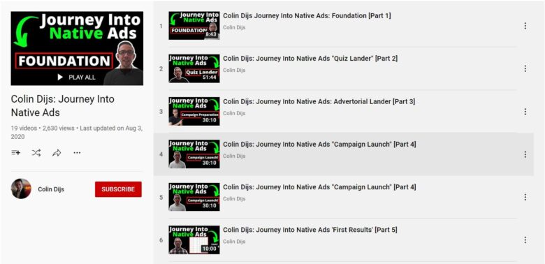 Colin Dijs YouTube Journey Into Native Ads