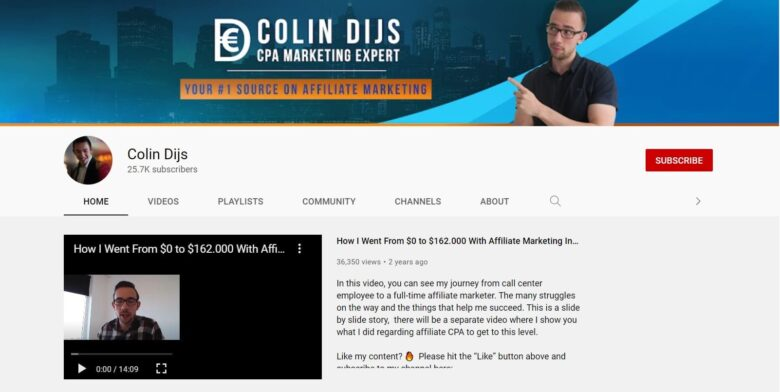 Colin Dijs YouTube home page