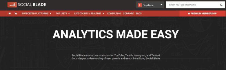 Social Blade home page slogan