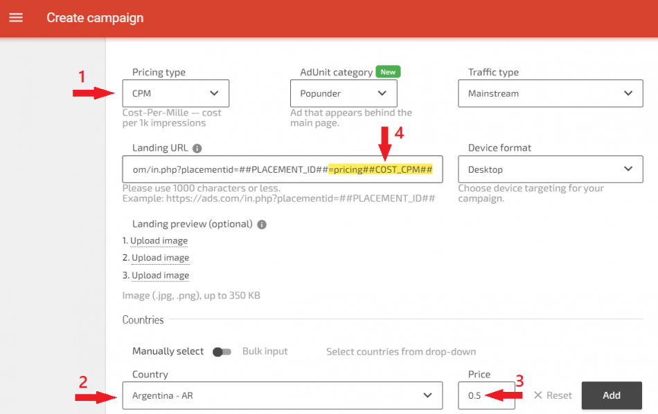 Adding pricing tokens to start tracking campaigns costs